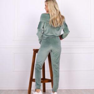 Приобрести онлайн женский спортивный костюм из велюра с открытыми плечами (размер 42-48) оливкового цвета