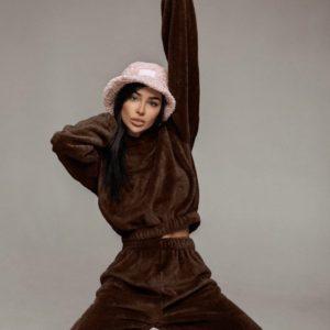Заказать шоколадный женский Тёплый костюм с капюшоном из двухсторонней махры по низким ценам