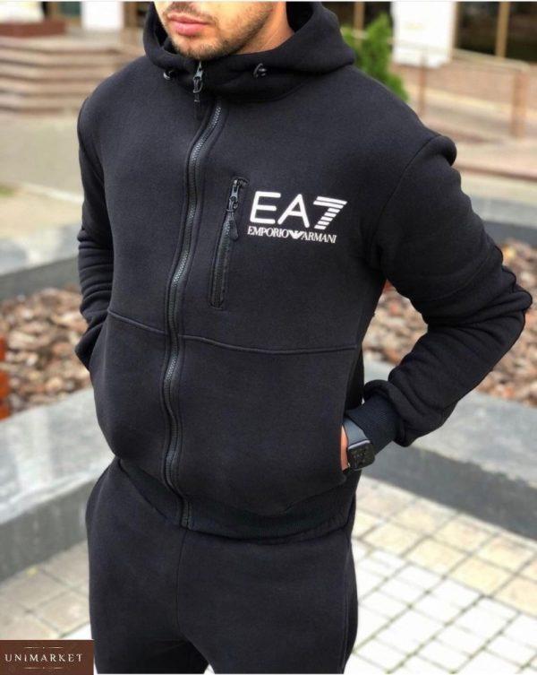 Купить выгодно мужской спортивный костюм EA7 из трехнити на флисе (размер 48-52) черного цвета