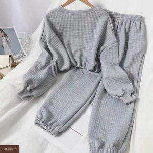 Купить серого цвета меланж прогулочный костюм для женщин из стеганного трикотажа недорого