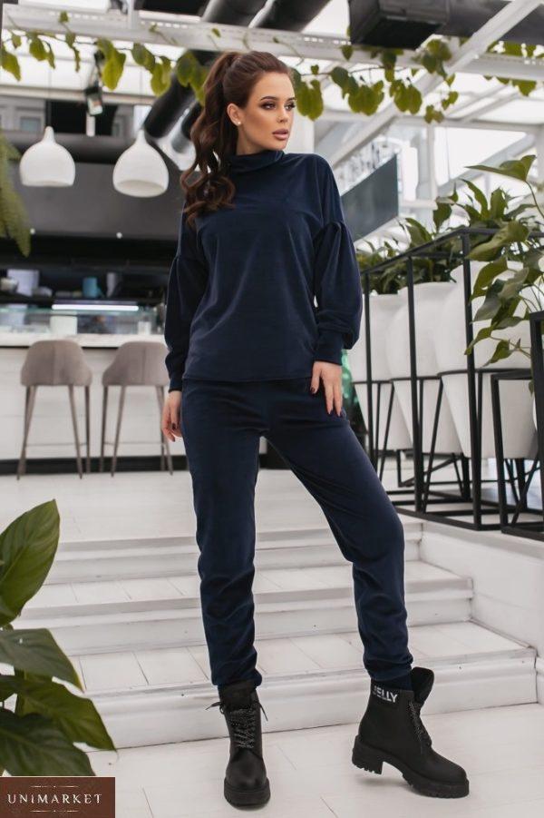 Купить синего цвета женский спортивный костюм из велюра с объемными рукавами (размер 42-48) в интернете на зиму