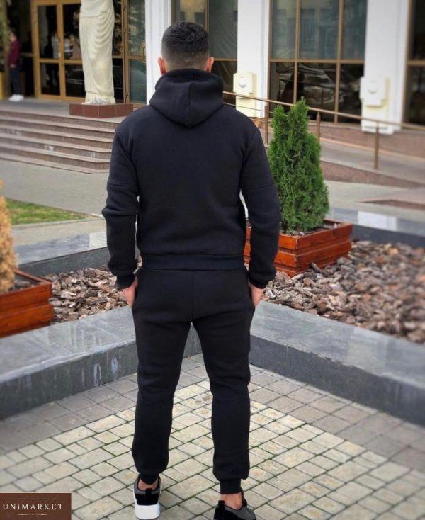 Заказать онлайн черный спортивный костюм EA7 из трехнити мужской на флисе (размер 48-52)