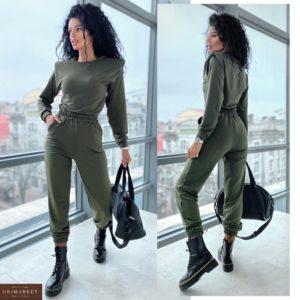 Приобрести онлайн прогулочный костюм с плечиками (размер 42-48) цвета хаки для женщин