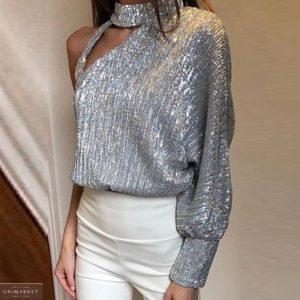 Купить женскую нарядную кофту с пайетками цвета серебро с одним рукавом дешево