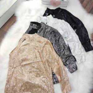 Заказать женскую нарядную кофту с пайетками с одним рукавом черную, белую, серую, золото, серебро по скидке