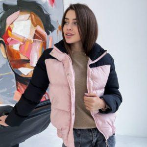 Купить женскую короткую пудра/черный двухцветную куртку онлайн
