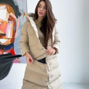 Заказать куртку-трансформер бежевую на кнопках со змейками по скидке для женщин