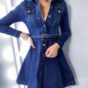 Заказать синее джинсовое платье-рубашка с юбкой-солнце для женщин по скидке