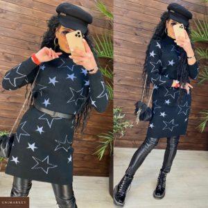 Приобрести черное трикотажное платье-туника со звездами с принтом женское онлайн
