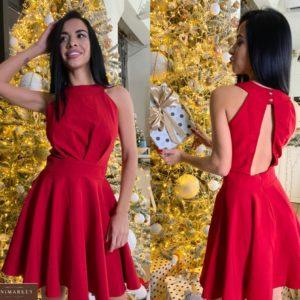 Замовити червоне коктейльне плаття для жінок без рукавів (розмір 42-50) недорого