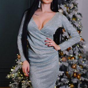 Заказать серебристое платье из мерцающего люрекса для женщин выгодно