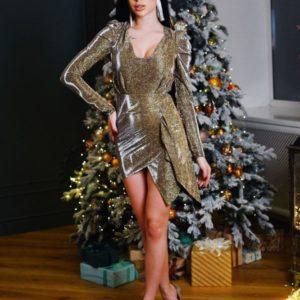 Заказать золотое платье для женщин голографик мини с длинным рукавом по скидке