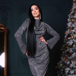 Заказать выгодно вечернее платье женское со сборкой на груди черное