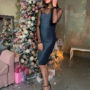 Купить женское вечернее синее платье с люрексом и камнями онлайн