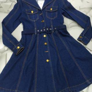 Купить недорого синее джинсовое платье-рубашка для женщин с юбкой-солнце