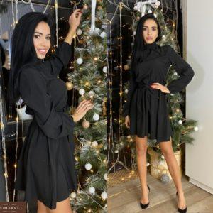 Придбати чорного кольору закрите плаття міні з поясом (розмір 42-50) для жінок за низькими цінами