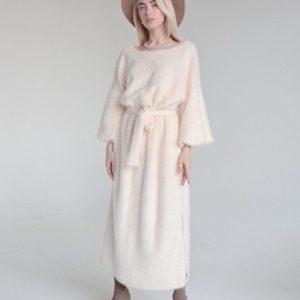 Замовити кольору шампань довге пухнасте плаття з поясом для жінок вигідно