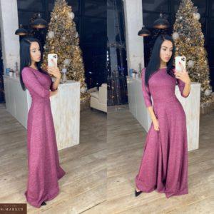 Придбати жіночу трикотажну сукню в підлогу з люрексом бузкового кольору по знижці на зиму