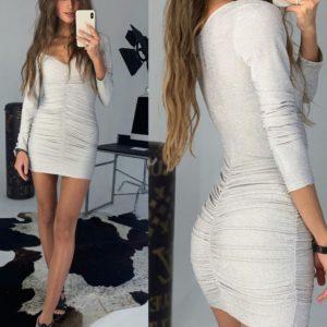 Заказать женское белое платье из люрекса с открытыми плечами недорого