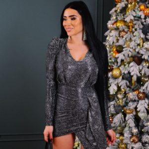 Купить по скидке женское платье голографик мини с длинным рукавом графит на корпоратив