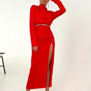 Заказать по скидке красное вечернее платье с поясом и разрезом женское