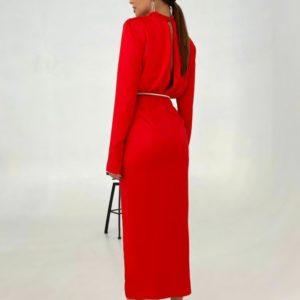 Приобрести выгодно женское вечернее платье с поясом и разрезом красного цвета