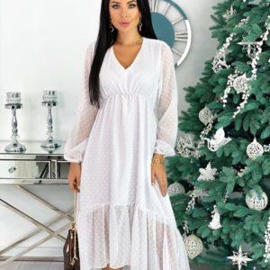 Заказать белое женское Платье с рюшами из структурного шифона (размер 42-48) в интернете