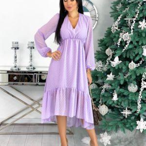 Заказать женское Платье с рюшами из структурного шифона лиловое (размер 42-48) онлайн