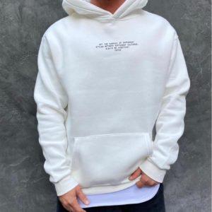 Купить мужское худи с надписью с имитацией футболки (размер 48-52) белого цвета по низким ценам