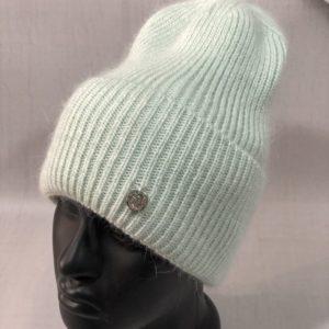 Приобрести онлайн бирюзовую вытянутую шапку из ангоры с шерстью для женщин