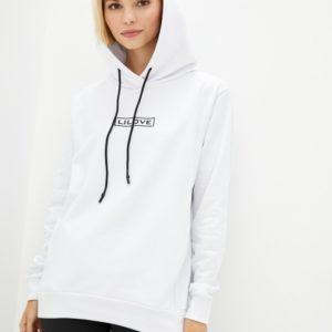 Заказать на распродаже женский трендовый батник с капюшоном LiLove (размер 42-56) белого цвета
