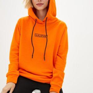 Купить оранжевый трендовый батник с капюшоном LiLove дешево (размер 42-56) для женщин