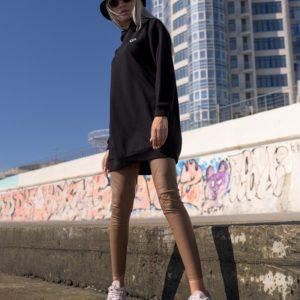 Заказать черного цвета женский удлиненный батник с капюшоном (размер 42-56) в интернете