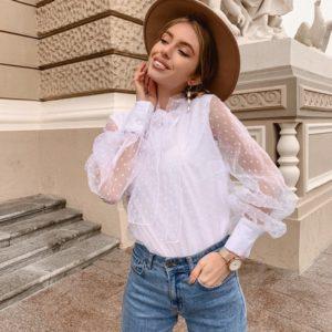 Заказать белую блузку для женщин в горошек онлайн с объемным бантом
