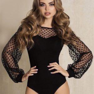 Купить черное боди для женщин с длинными объёмными рукавами в горошек (размер 42-48) по скидке
