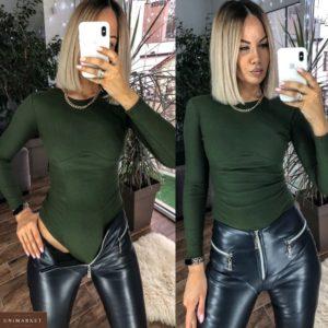 Купить хаки женское боди с имитацией косточек под грудью (размер 42-48) недорого