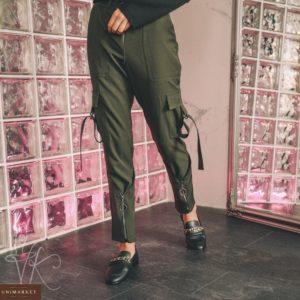 Купить цвета хаки брюки для женщин с карманами и молнией по скидке