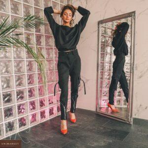 Заказать черные брюки с карманами и молнией женские в интернете
