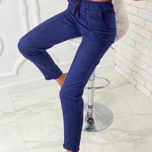 Приобрести синего цвета женские замшевые брюки на резинке (размер 42-52) недорого