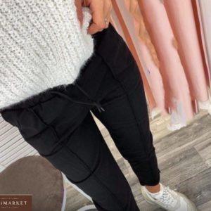 Купить женские замшевые брюки на резинке черного цвета (размер 42-52) в Украине