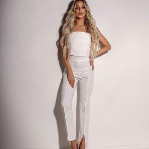 Приобрести брюки для женщин на высокой посадке белые с разрезами спереди онлайн