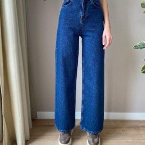 Заказать женские синего цвета базовые джинсы свободного кроя на высокой талии онлайн