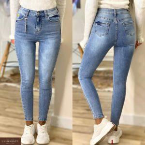 Купить голубые стрейчевые женские джинсы скинни по низким ценам