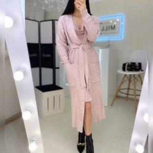 Купить в Украине женский длинный вязаный кардиган с поясом цвета пудра