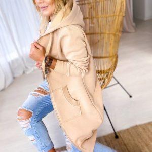 Заказать женский теплый спортивный кардиган бежевый с капюшоном (размер 42-56) онлайн