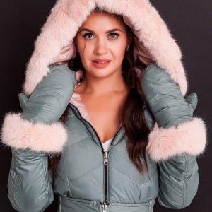 Купить недорого женский двухсторонний зимний комбинезон с мехом кролика+пояс и варежки(размер 42-48) серо-розовый
