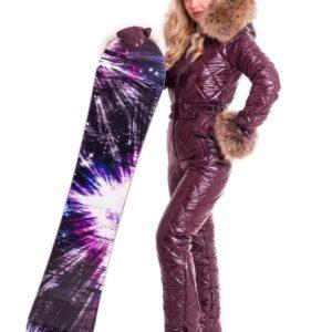 Купить женский зимний комбинезон бордо с натуральным мехом енота+пояс и варежки (размер 42-50) в Украине