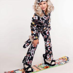 Купить черного цвета женский принтованный лыжный комбинезон с мехом енота (размер 40-48) в Украине