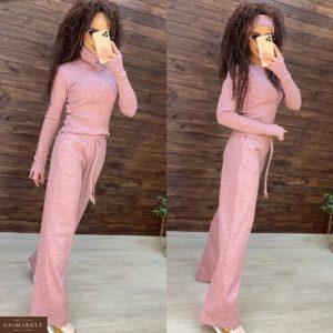 Заказать розовый женский костюм тройка: кофта, штаны и шарф-хомут дешево