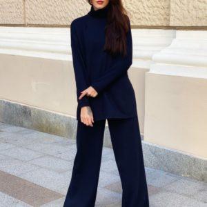 Купить дешево женский свободный костюм темно-синего цвета из ангоры со свитером под шею (размер 42-52)